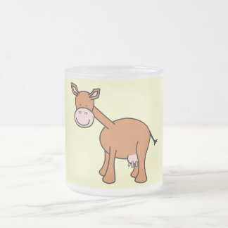 Brown Cow Cartoon. 10 Oz Frosted Glass Coffee Mug