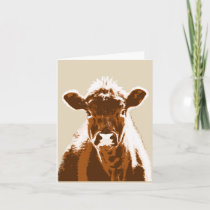 Brown Cow Farm Animal Blank Note Card
