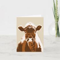 Brown Cow Farm Animal Blank Note Card