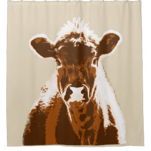 Brown Cow Farm Animal Shower Curtain