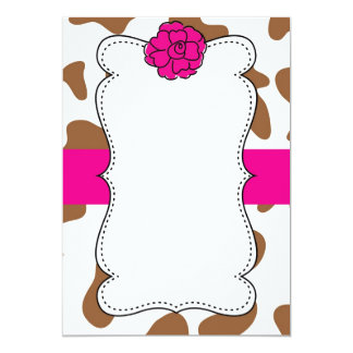 Brown Cow Farm Ranch Animal Print Pink Invitation
