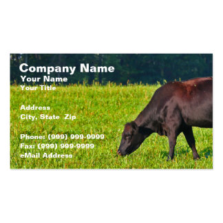 Brown Cow Feeding on Grass Double-Sided Standard Business Cards (Pack Of 100)