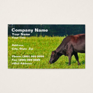 Brown Cow Feeding on Grass Business Card
