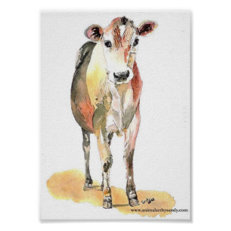 brown cow for canvas matte poster