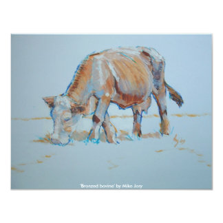 Brown Cow Grazing Painting Bronzed Bovine Card