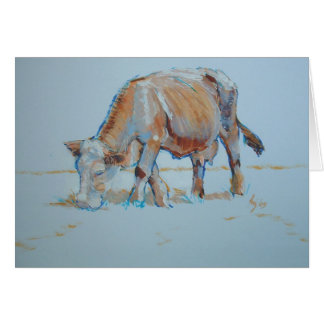 Brown Cow Grazing Painting Bronzed Bovine Cards