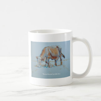 Brown Cow Grazing Painting Bronzed Bovine Coffee Mug
