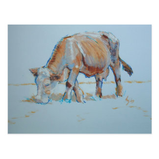Brown Cow Grazing Painting Bronzed Bovine Postcard