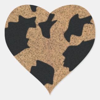 Brown Cow Hide Heart Sticker