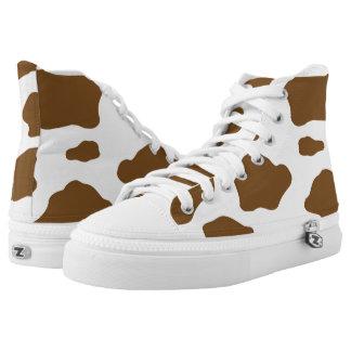 Brown Cow Hide High-Top Sneakers
