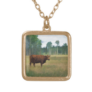Brown Cow on a Horse and Cattle Ranch Gold Plated Necklace