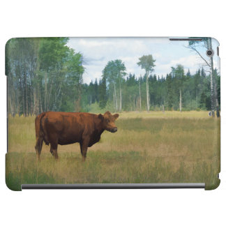 Brown Cow on a Horse and Cattle Ranch iPad Air Cover