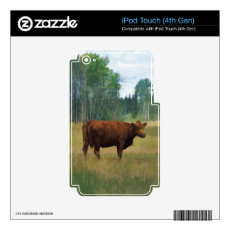 Brown Cow on a Horse and Cattle Ranch iPod Touch 4G Decal