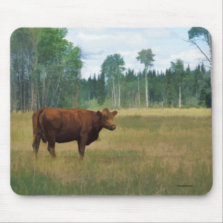 Brown Cow on a Horse and Cattle Ranch Mouse Pad