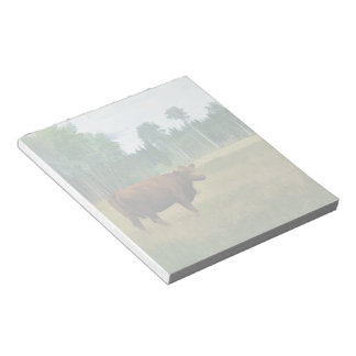 Brown Cow on a Horse and Cattle Ranch Notepad
