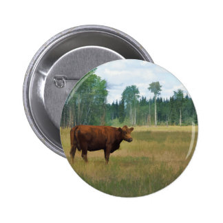 Brown Cow on a Horse and Cattle Ranch Pinback Button