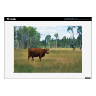 Brown Cow on a Horse and Cattle Ranch Skin For Laptop