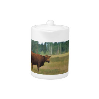 Brown Cow on a Horse and Cattle Ranch Teapot