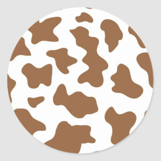 Brown Cow Print Classic Round Sticker