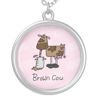 Brown Cow Round Pendant Necklace