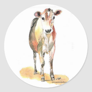 brown cow round stickers