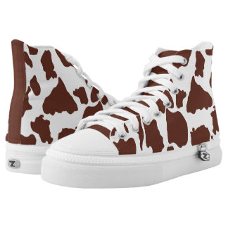 Brown Cow Skin Pattern Printed Shoes