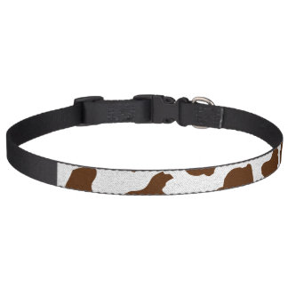 Brown Cow Spots Faux Fabric Texture Dog Collar