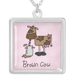 Brown Cow Square Pendant Necklace