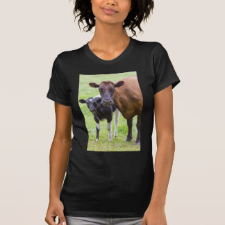 Brown cow together with black and white calf tee shirt