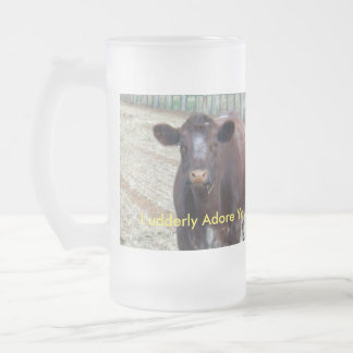 Brown_Cow_Udderly_Adore_You,_Big_Frosted_Beer_Mug. Frosted Glass Beer Mug