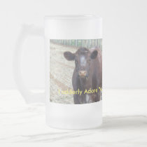 Brown Cow Udderly Adore You, Frosted Glass Beer Mug