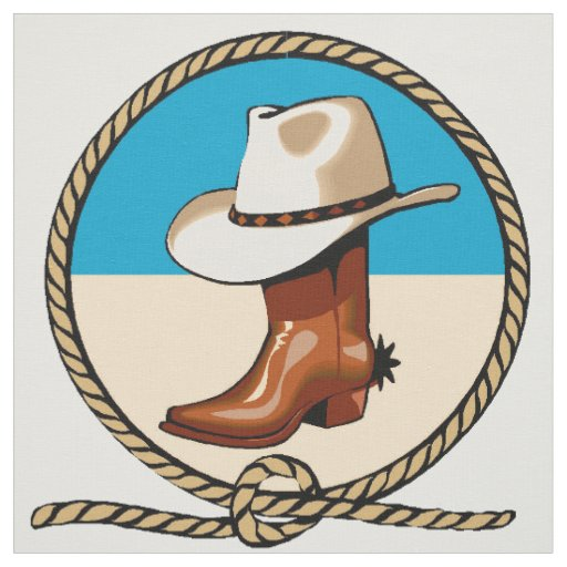 Brown Cowboy Boots Hat Rodeo Circle Print Pattern Fabric