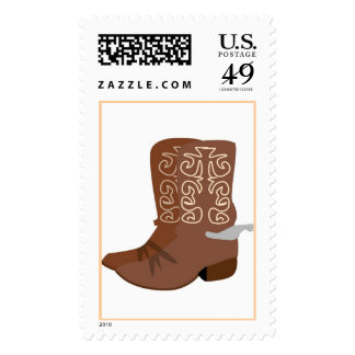 Brown Cowboy Boots Postage Stamps