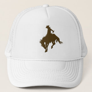 Brown Cowboy Bucking Horse Trucker Hat