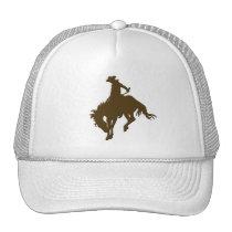 Brown Cowboy Bucking Horse Trucker Hat