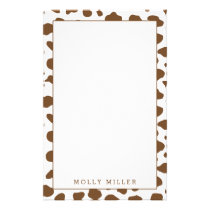 Brown Cowboy Cow Print Stationery