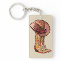 Brown Cowgirl Boots And Hat Still Life Art Keychain