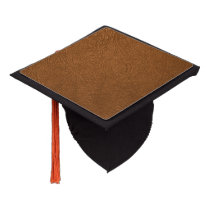 Brown Cowhide Leather Texture Look Graduation Cap Topper