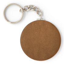 Brown Cowhide Leather Texture Look Keychain