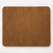 Brown Cowhide Leather Texture Look Mouse Pad
