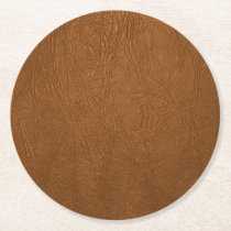 Brown Cowhide Leather Texture Look Round Paper Coaster