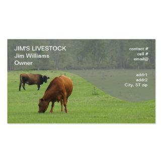 brown cows grazing business card