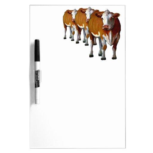 Brown Cows In A Row: Original Oil Pastel Art Dry Erase Board