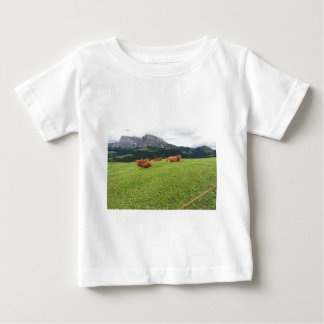 Brown cows on alpine pastures in summer baby T-Shirt