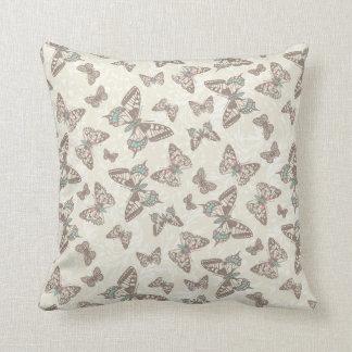 Brown cream butterflies damask pattern pillow