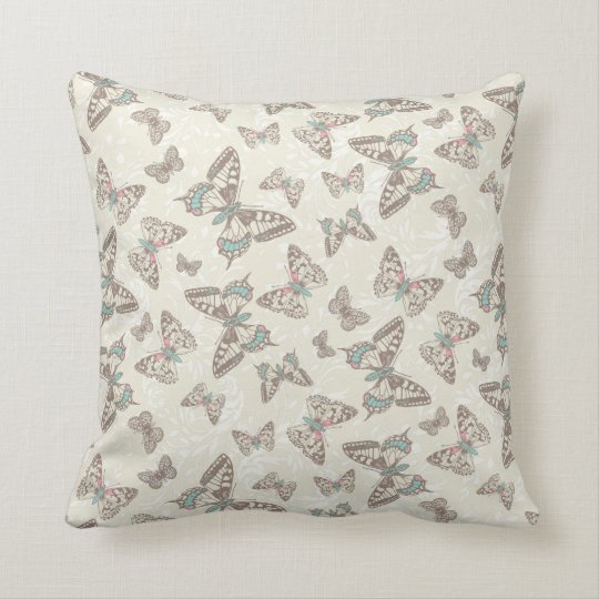 Brown cream butterflies damask pattern pillow