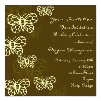 Brown & Cream Butterfly Birthday Invitation