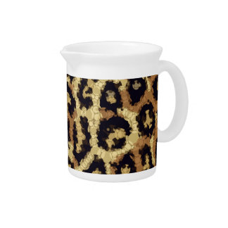 Brown Cream Cheetah Abstract Beverage Pitchers