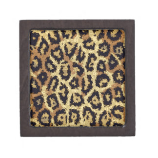 Brown Cream Cheetah Abstract Jewelry Box