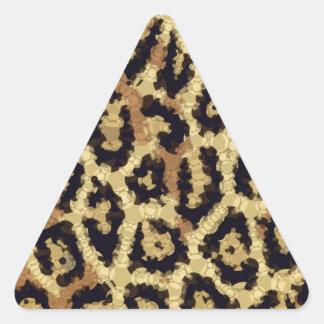 Brown Cream Cheetah Abstract Triangle Sticker